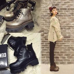 Womens Ankle Boots Block Heels Lace up Combat Boots Autumn C