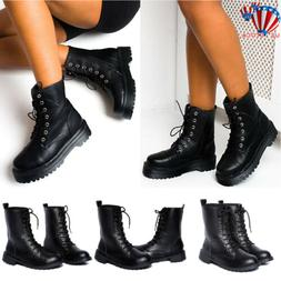 WOMENS ANKLE BOOTS COMBAT ARMY MILITARY BIKER FLAT LACE UP W