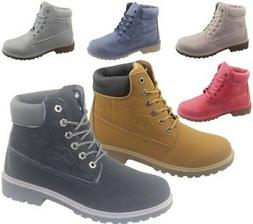 Womens Ankle Boots Combat Hiking Work High Top Desert Lace U