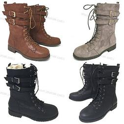 Womens Boots Ankle Fashion Faux Leather Strap Zipper Lace Up