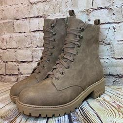 Soda Womens Brown Lace Up Size Zip Combat Boots Size 10