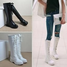 Womens Casual Winter Goth Punk Mid Calf Knee High Lace Up Mi