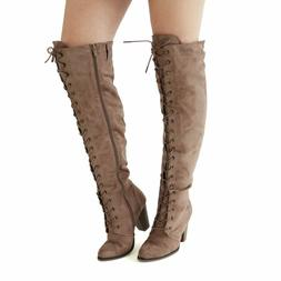 Womens Chunky Over The Knee High Riding Boots Lace up Corset