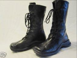 Womens Combat Boots Black Leather Lace-Up Italy Size 6