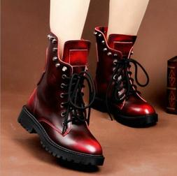 Womens Combat Boots Rivets Block Heels Lace up Ankle Boots A