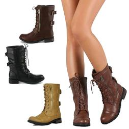 Womens Combat Military Boots Lace Up Buckle New Women Fashio