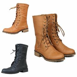 Womens Combat Military Boots Lace Up  Mid Calf High Waterpro
