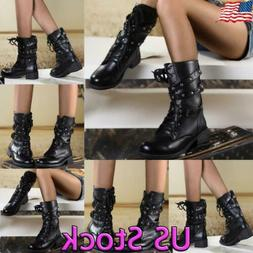 Womens Combat Military Boots Lace Up Zipper Ladies Mid Calf