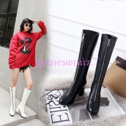 Womens Front Zipper PU Leather High Block Heel Knee High Boo