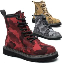 Womens Girls Camo Army Combat Military Ankle Boots High Top
