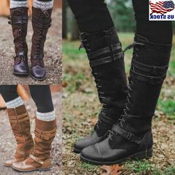 Womens Knee High Lace Up Buckle Military Combat Boots PU Lea