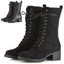 Womens Lace Up Boots Grip Sole Ladies Block Low Heel Goth Pu
