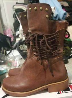 Womens Lace Up Brown PU Leather Combat Riding Boots Ladies F