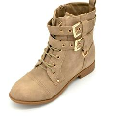 Top Moda Womens Lace Up Buckle Mid Calf Combat Boots US Size