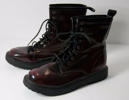 Wild Diva Womens Lace Up Burgundy Maroon Combat Boots Distre