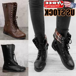 Womens Lace Up Combat Boots Ladies Low Heel Military Army Bi