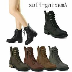 Women's  Ankle Boots Lace Up Zip Low Chunky Heel Military Co