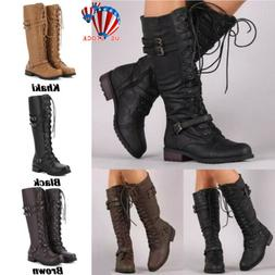 Womens Lace Up Thigh Knee High Boots Ladies Combat Army Flat