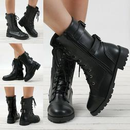 Women Studded Goth Zip Combat Ladies Ankle Boots Lace Up Tub