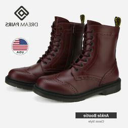 DREAM PAIRS Womens Lace Up Ankle Boots Low Heel Zipper Comba