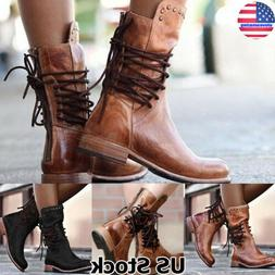 Womens Military Boots Army Combat Lace Up Flat Mid-Calf Boot