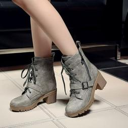Womens Military Combat Buckle Strap Block Heels Lace Up With