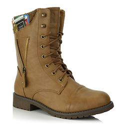 DailyShoes Womens Military Lace Up Buckle Combat Boots Zippe