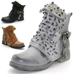 Women Studded Doc Combat Ankle Boots Hollow Flat Low Heel Pu