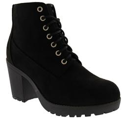 SODA WOMEN'S SECOND-S CHUNKY HEEL COMBAT BOOTS