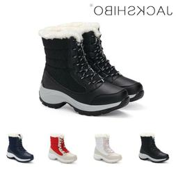 Womens Winter Snow Boots Ankle Fur Lined Warm Shoes Casual O