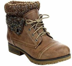 Refresh WYNNE-01 Women's combat style lace up ankle bootie T