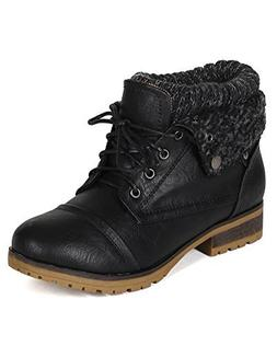 Refresh WYNNE-01 Women's combat style lace up ankle bootie,W