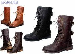 Zipper Buckle Military Combat  Lace Up Mid Calf Boot Women's